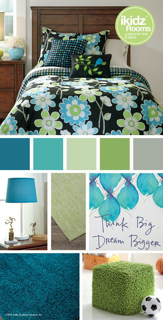 Sweetie Blue Twin Top of Bed Set - iKidz Rooms® - Teal, Blue, Green Bedroom Color Ideas - Kids, Teen and Youth Bedroom Furniture and Accessories - Ashley Furniture - #AshleyFurniture - @AshleyFurnDecor