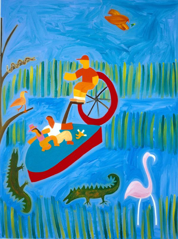 In Florida With the Crocodiles, 2001. Oil on linen, 122 x 92 cm. Exhibition: Jump into Reality. Private collection. #painting #oilpainting #finearts #contemporaryart #cristinarodriguez