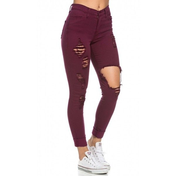 High Waisted Distressed Skinny Jeans in Burgundy ($45) ❤ liked on Polyvore featuring jeans, high rise skinny jeans, high waisted stretch jeans, distressed jeans, skinny jeans and ripped skinny jeans