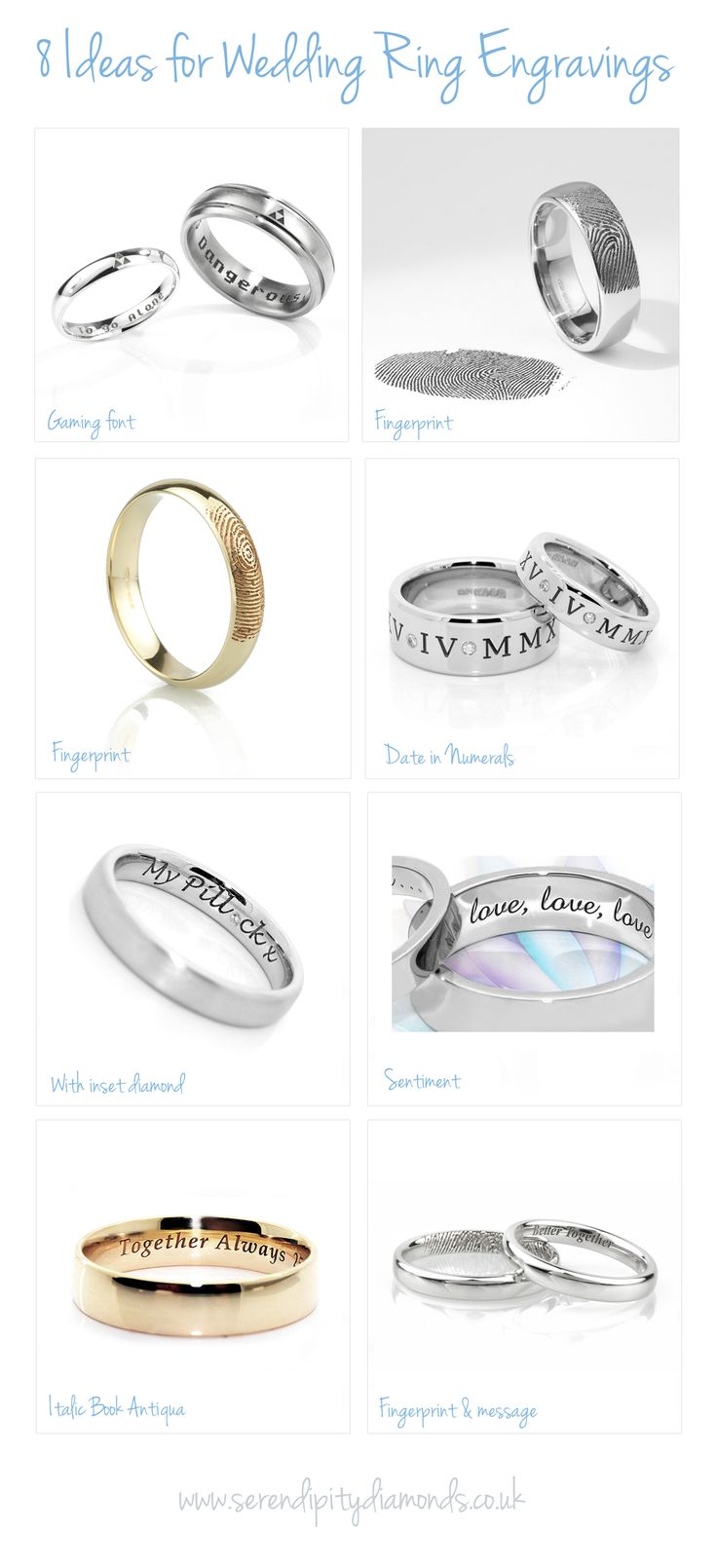 Ideas and inspiration for engraved wedding rings. Visit our dedicated information page for more ideas on cost and how to commission an engraved wedding ring with message, name, date or a completely unique design such as a fingerprint.