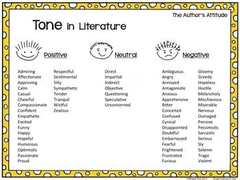 Tone List   Winged One TpT Store   Pinterest   Tone in literature ...
