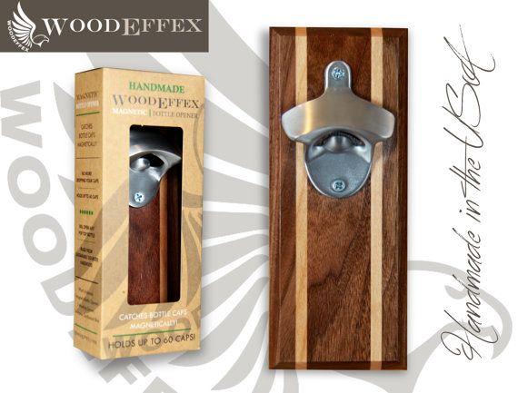 Botella abridor tapón magnético Catcher - artesanal madera nogal y aliso embutido con el abrelatas de níquel cepillado (sin personalización)