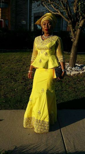 Yellow george skirt and blouse, African style, Nigerian fashion, Igbo woman, gele