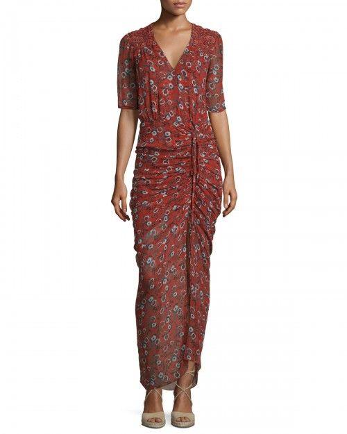 Veronica+Beard+Mariposa+Silk+Ruched+Printed+Maxi+Dress+Rust+Floral+Women's+0+|+Clothing