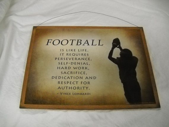 Football is life life requires hard work sacrifice respect boys Sports room wooden Wall Art Sign on Etsy, $19.99