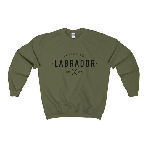 Pullover crewneck sweatshirt with large Labrador Supply Co. logo across chest in black. Available in several colours -- military green shown.
