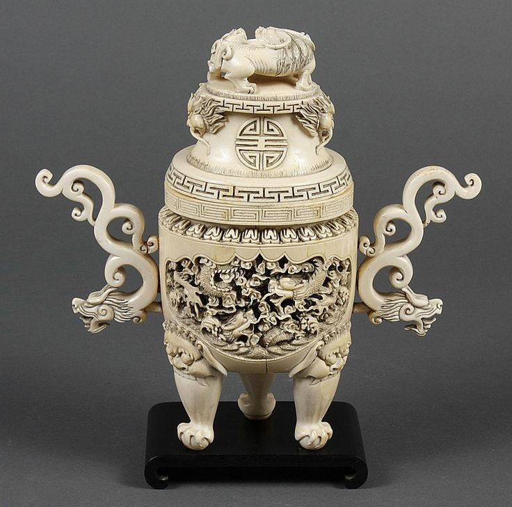 Buy online, view images and see past prices for CHINESE CARVED IVORY CENSER - Hand carved ivory censer; tripod form. Body has relief carved dragon design to both sides. Two handles.... Invaluable is the world's largest marketplace for art, antiques, and collectibles.