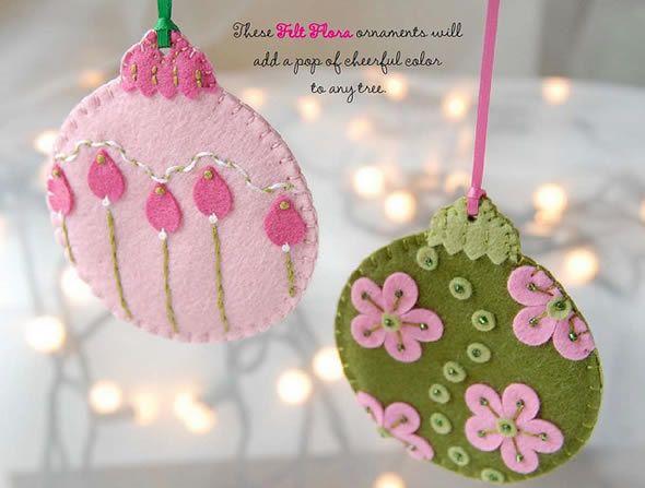 Bolinhas para árvore de natal feitas com feltro | Revista Artesanato