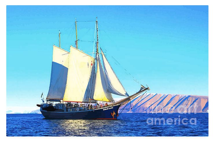 A magnificent schooner cruising in the light winds of the Mediterranean sea. They were first used by the Dutch around the 17th Century. They were popular with pirates! They usually carried formidable cannons on board.