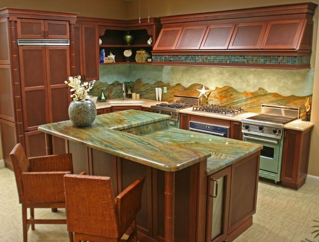 Louise blue granite countertops kitchen ideas for Blue countertops kitchen ideas