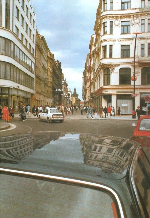 Prague in late 80s with cars/on cars by J.Mikula/K.Sys