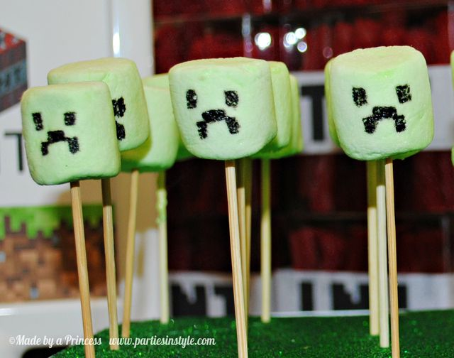 Marshmallow creepers at a Minecraft Party #minecraft #partyfood