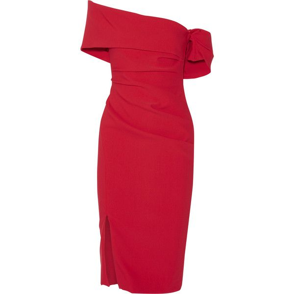 Haney Off-the-shoulder ruched stretch-crepe dress (3 615 AUD) via Polyvore featuring dresses, red, off the shoulder dress, ruched dress, slim fit dress, crimson dress and rouched dress