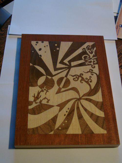 How to laser cut wood veneers for marquetry inlays for Wood veneer craft projects