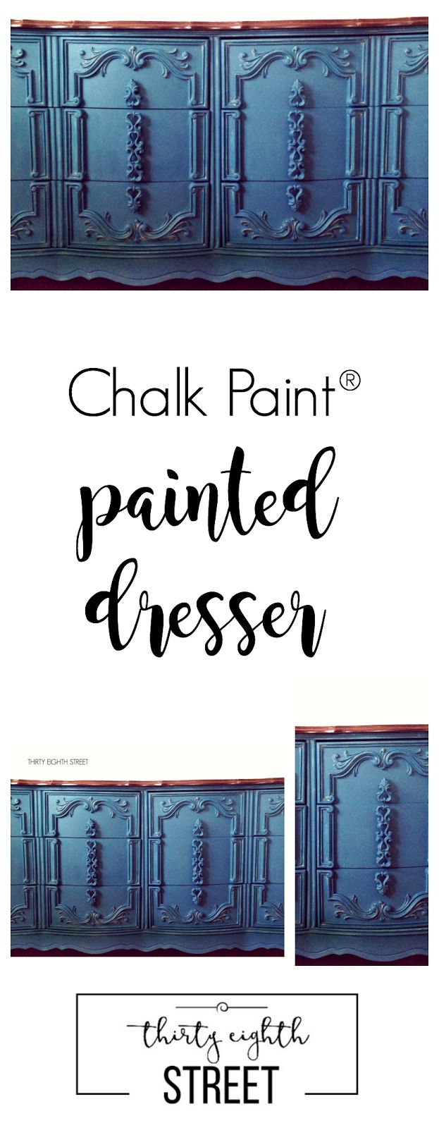 Painted Dresser In Custom Chalk Paint® color. Dresser Makeover by Thirty Eighth…