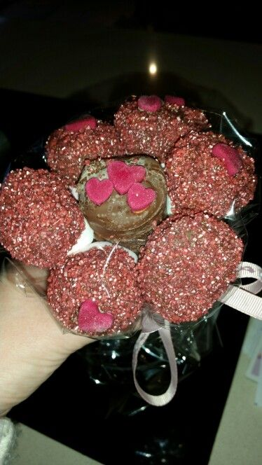 Valentines sweet pop bouquet - marshmallows dipped in chocolate and sprinkles