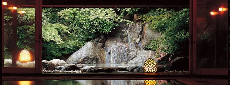 #Japanese #hotsprings #spa Exotic fragrances waft delicately through the air, welcoming you as enter the Kadan Spa. A hot spring overflows into the open-air bath.  All facets coalesce to invoke an authentic Japanese spa experience.