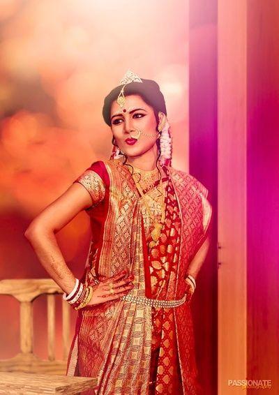 bengali bride , banarsi saree