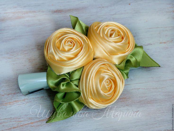 """Купить Заколка """"Желтые розы"""" - желтый, желтый цветок, желтая роза, желтые розы"""