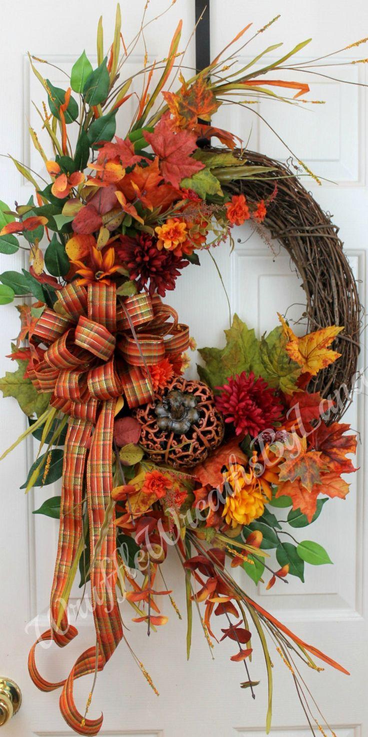 Fall Pumpkin Wreath, Grapevine Wreath, Fall Wreath, Fall Grapevine Wreath, Thanksgiving Wreath by WruffleWreathsbyLana on Etsy