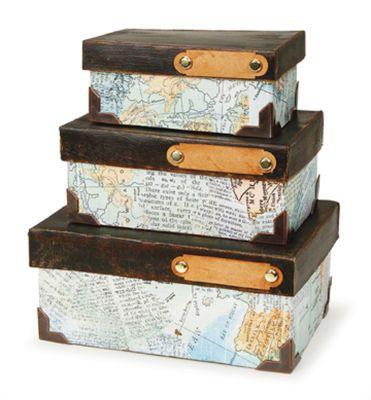 Ensemble De Boîtes En Papier Mâché Sur Le Thème Du Voyage Crafting Fascinating Decorative Paper Mache Boxes