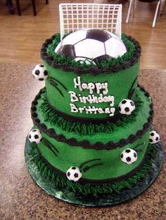 Soccer Cake... WANT!!!!!!!!!! Weird Part: My Daughter's name is BRITTANY and she plays soccer!!⚽️