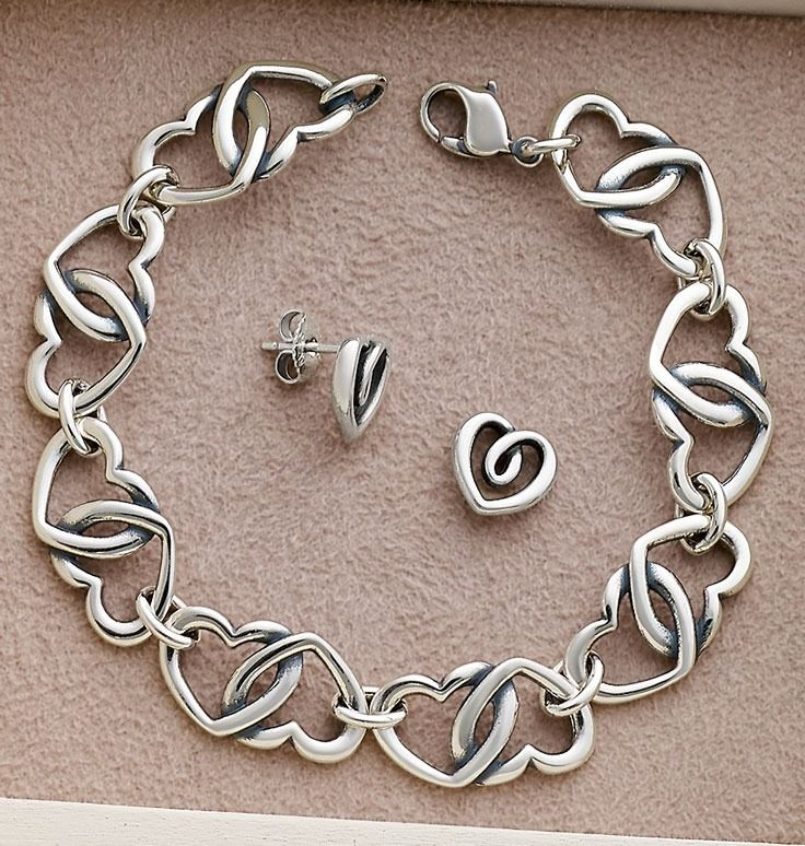Double Heart Link Bracelet and Heart Strings Ear Posts #JamesAvery