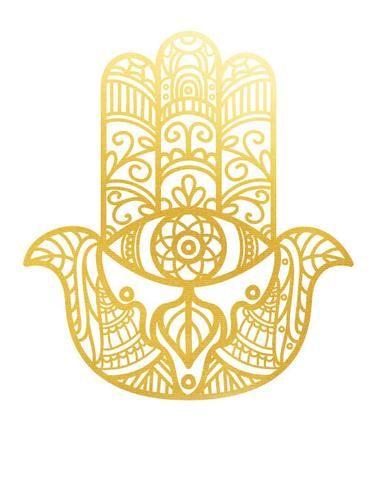 Tatuaje efímero dorado - Modelo Mano de Fátima