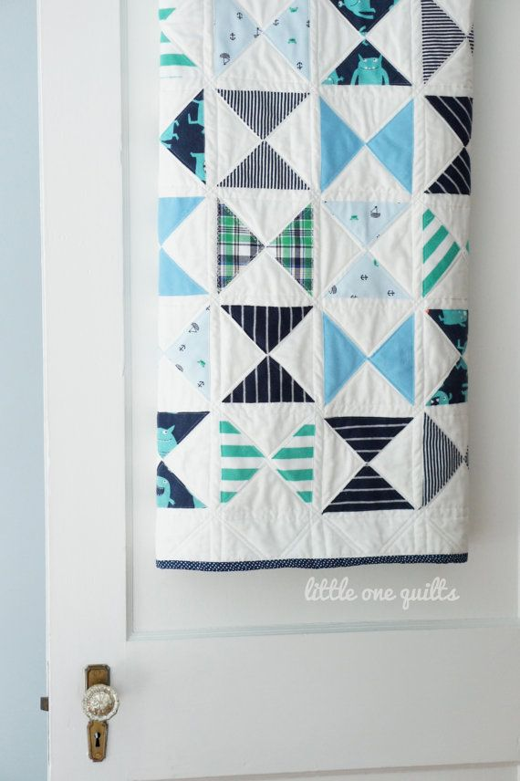 Modern Hourglass Memory Quilt made from baby clothes by Little One Quilts