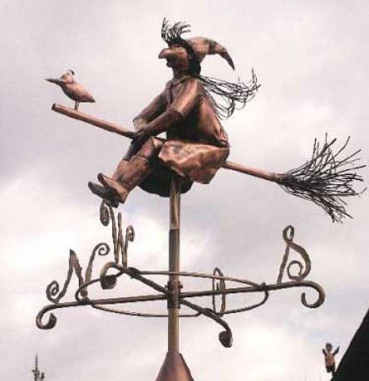 Weathervane witch 3D of copper and brass