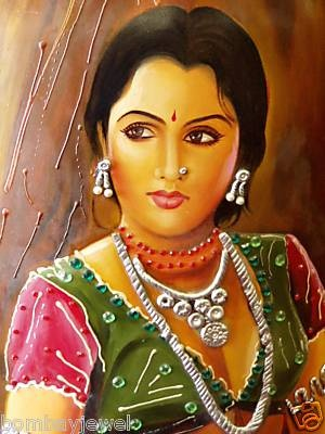 Rajashthan Painting on POT Wall Hanging Machimar Lady.Art Of India