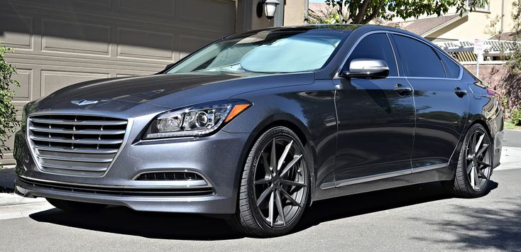 The factory specs won't blow the doors off of the competition. This 2015 #Genesis and it's 3.8-liter V-6 engine sends a respectable 311 horsepower at 6,000 RPM and 293 lb-ft. of torque at 5,000 RPM to each of the rear #TSW Wheels, giving it a suitable amount of power. The real attention-getting aspect is its design. www.wheelhero.com for Discount Wheels
