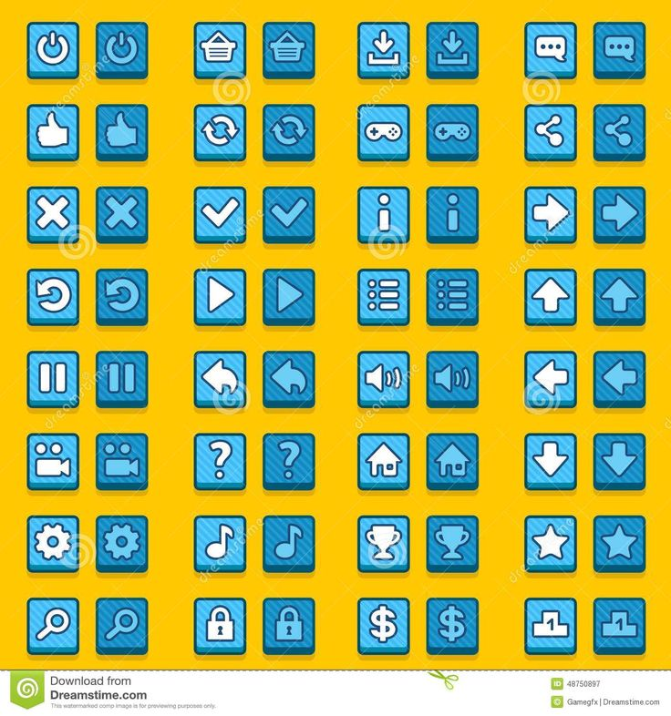 Blue game icons buttons, icons, interface