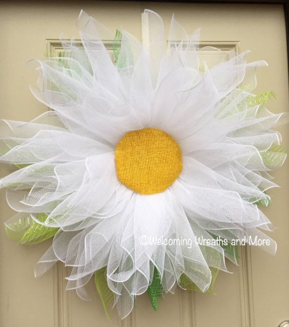 Daisy Wreath XL Flower Wreath Spring Mesh Daisy Wreath