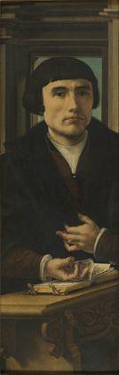 Jan (Jennin) Gossaert dit Mabuse : Avers des volets d'un triptyque. Volet gauche : Portrait d'un donateur ; volet droit, Royal Museum of Fine-Arts, Brussels