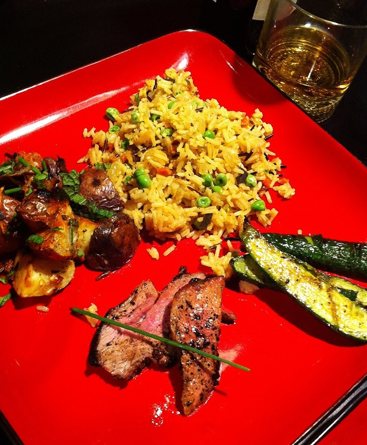 grilled rosemary garlic lamb, roasted sage potatoes and leeks with ...