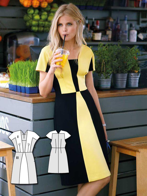 Color Block Jersey Dress 02/2015 #124 http://www.burdastyle.com/pattern_store/patterns/color-block-jersey-dress-022015?utm_source=burdastyle.com&utm_medium=referral&utm_campaign=bs-tta-bl-160118-SportyChic124
