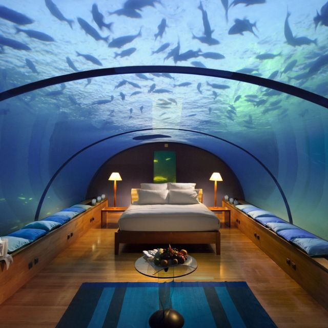 Underwater bedroom @ Conrad, Maledives