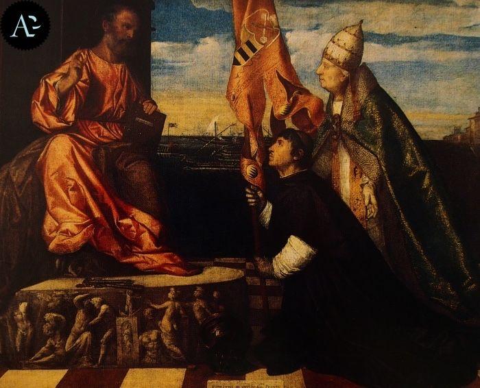 Tiziano Vecellio | Il vescovo Jacopo Pesaro presentato a San Pietro da Papa Alessandro VI
