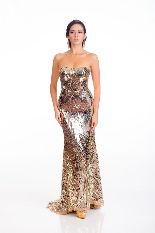 Elvira Devinamira Miss Indonesia in evening dress for Miss Universe.