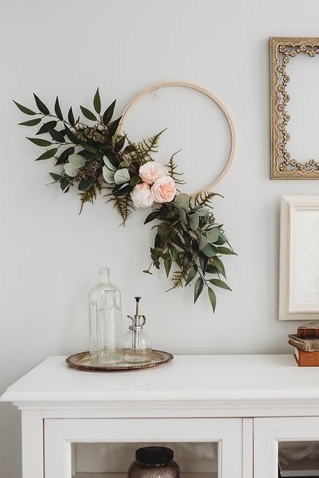 Peony + Eucalyptus Hoop Wreath