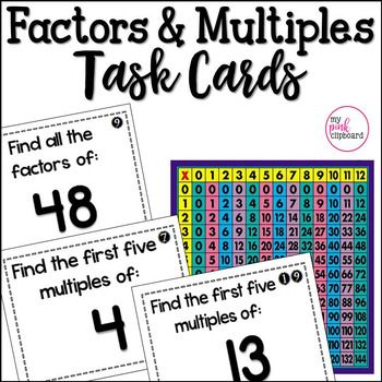 These Factors and Multiples Task Cards set are the perfect way for your students to deepen their understanding of multiplication and focus on Common Core standard 4.OA.4! 24 short-answer task cards make this a quick and easy activity for math centers, scavenger hunts, and more!