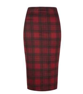 Red Tartan Scuba Midi Skirt