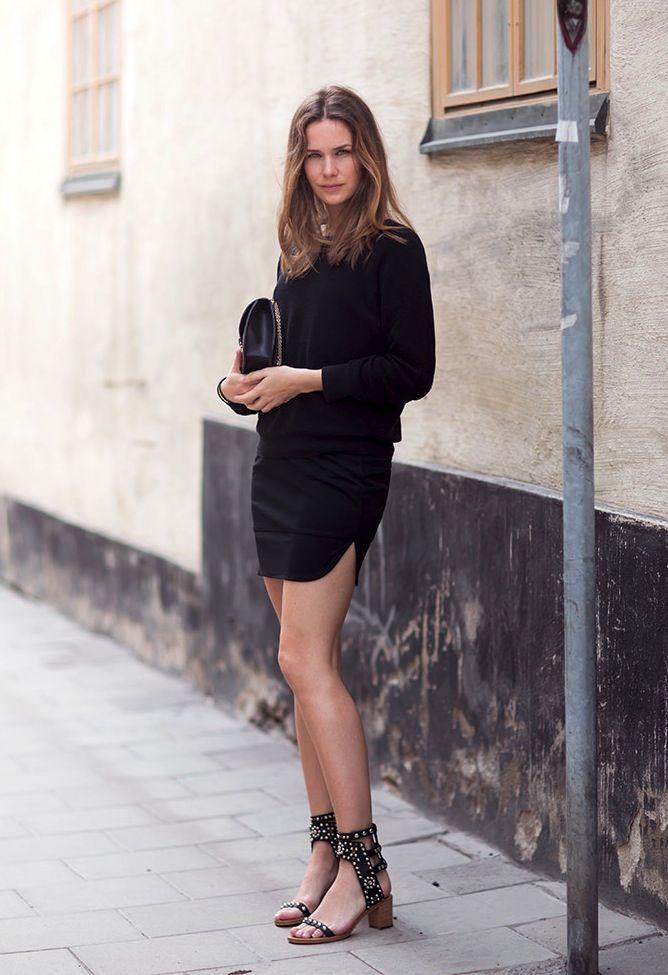 skirt + heeled sandals