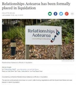 Counselling contractors Relationships Aotearoa is officially in liquidation.  The service controversially shut down on June 9, after funding negotiations with the Government failed and was placed in interim liquidation.