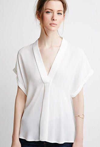 V-Neck Shawl Collar Blouse | Forever 21 - 2000077471
