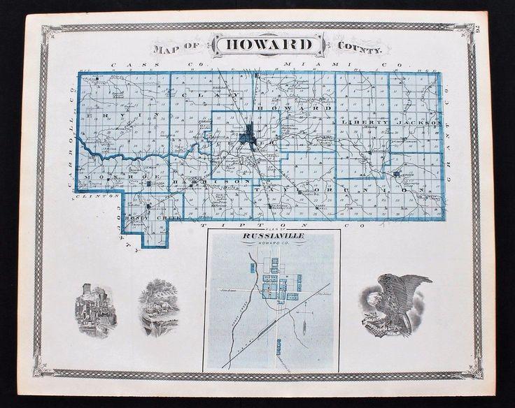 1876 Howard County Indiana Map Kokomo Jerome Russianville Railroads Plats