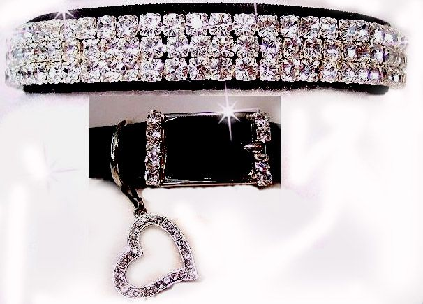 Rhinestone cat collar, just one of a wide assortment of cat products available at Cat Palace, USA.