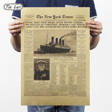 LER LAZO Clásico de The New York Times Historia Poster Titanic Naufragio Periódico Viejo Retro Kraft Papel Decoración Del Hogar(China (Mainland))