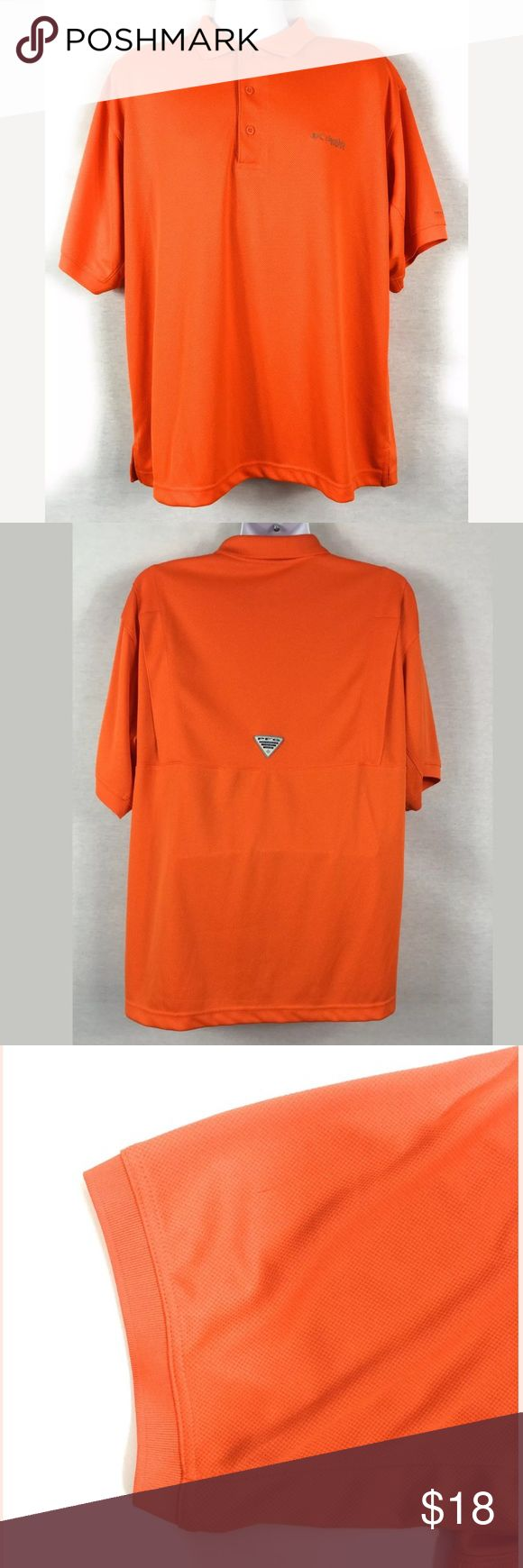 """Columbia Omni Shade PFG Men's Vented Back Large Columbia Omni Shade PFG (Performance Fishing Gear) Polo style Shirt. Men's Size Large in Bright Orange. Shirt is vented in the back. Good used condition with no rips or stains. Shirt is 100%Polyester and machine washable. Please see measurements and pictures for details.  Underarm to Underarm 25""""  Center Back Length 30"""" Columbia PFG Shirts Casual Button Down Shirts"""